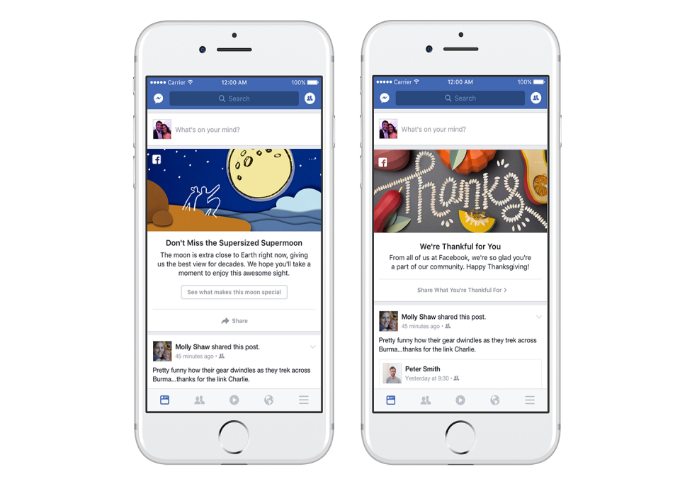 facebook share events in news feed