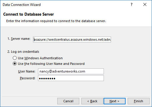 Connect Excel to Azure Analysis Services Server