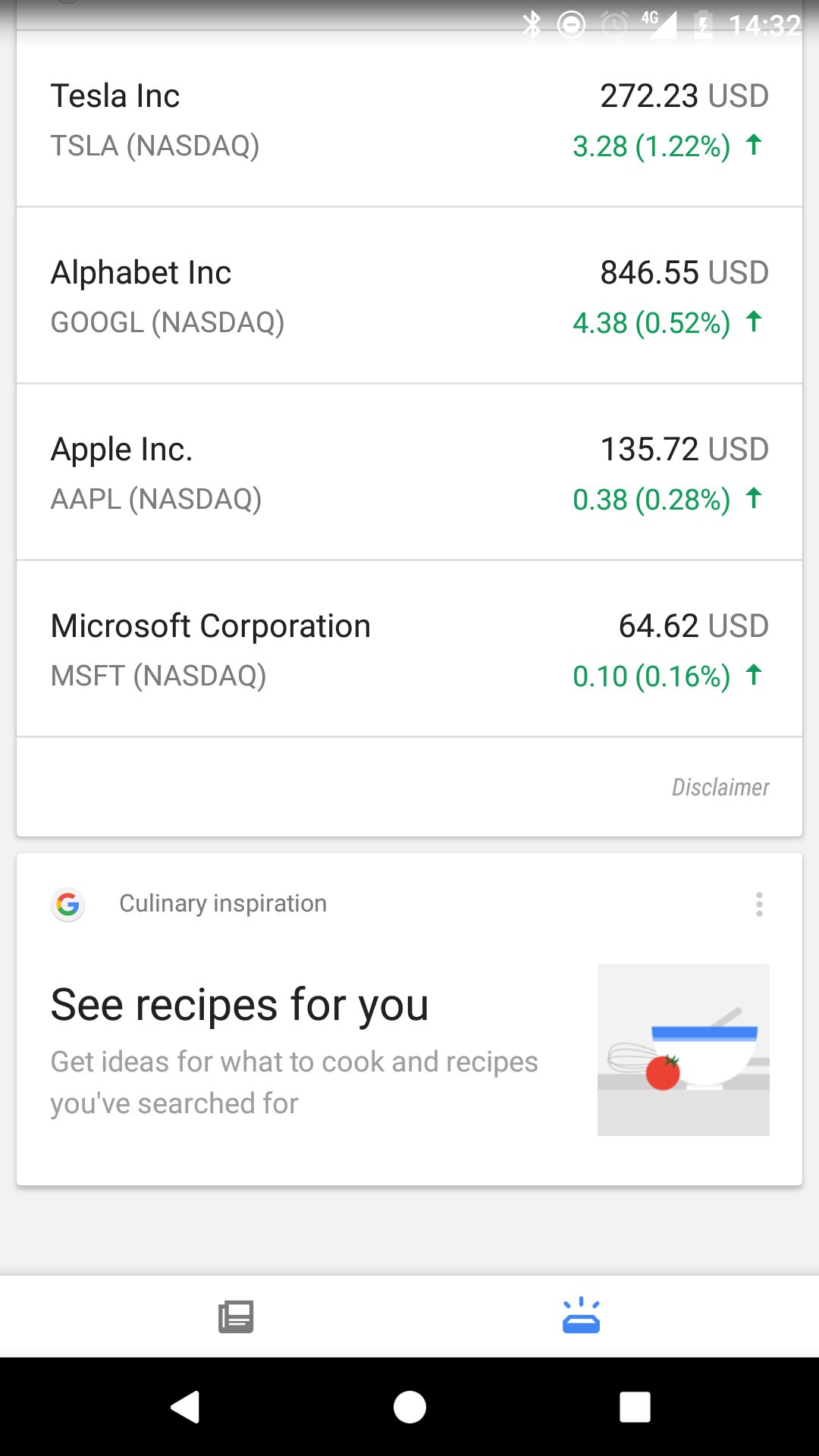 Google Now: new culinary section