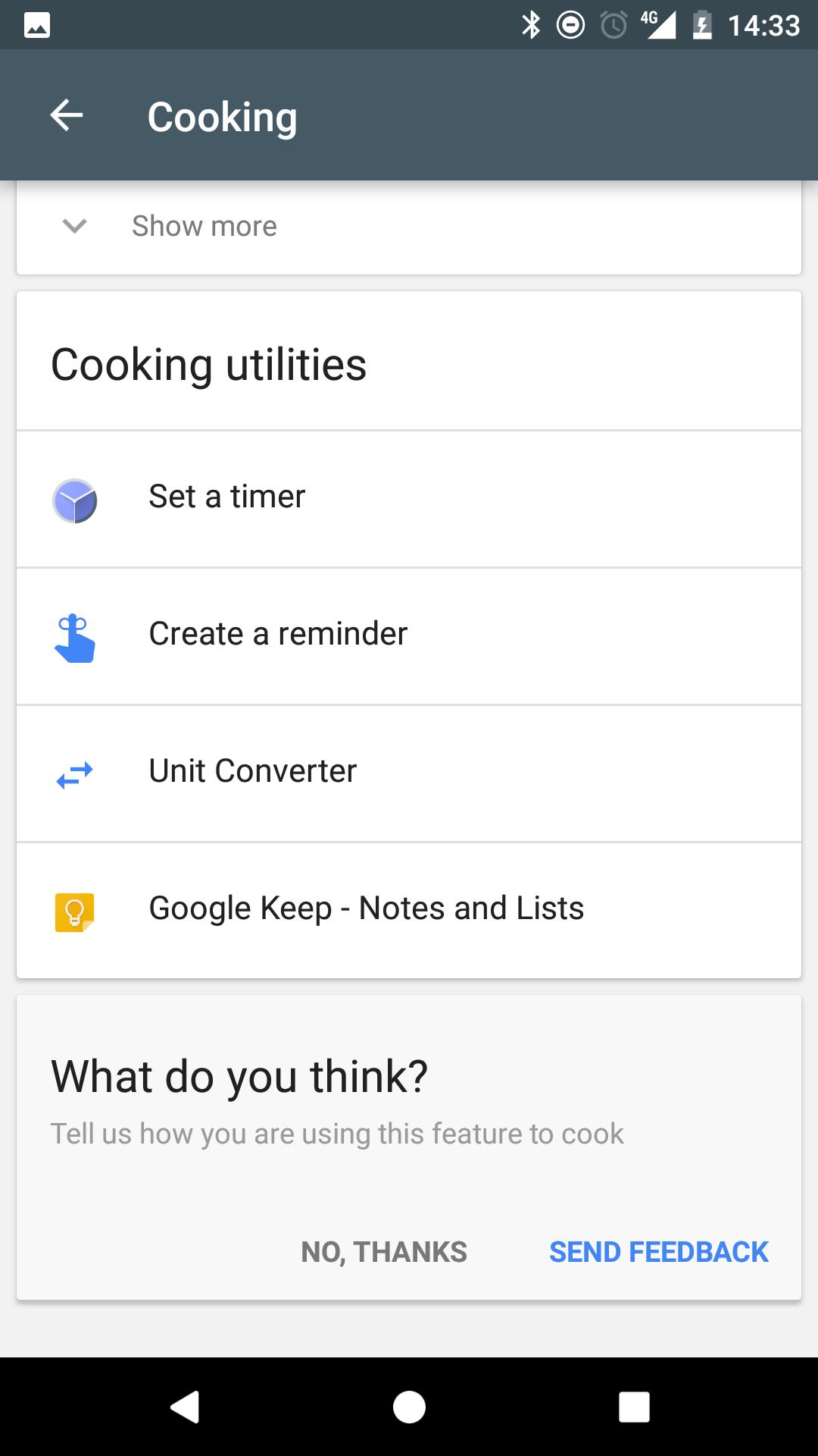 Google Now: Cooking Utilities
