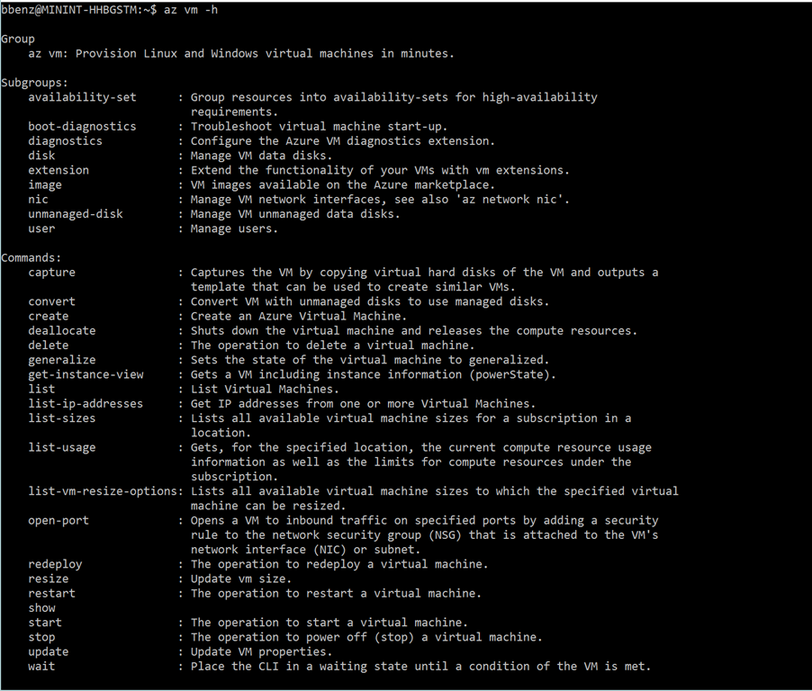 Azure Command Line 2.0