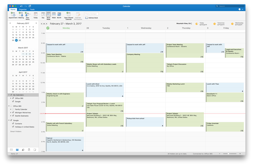 Outlook 2016 for Mac support Google Calendar and Contacts