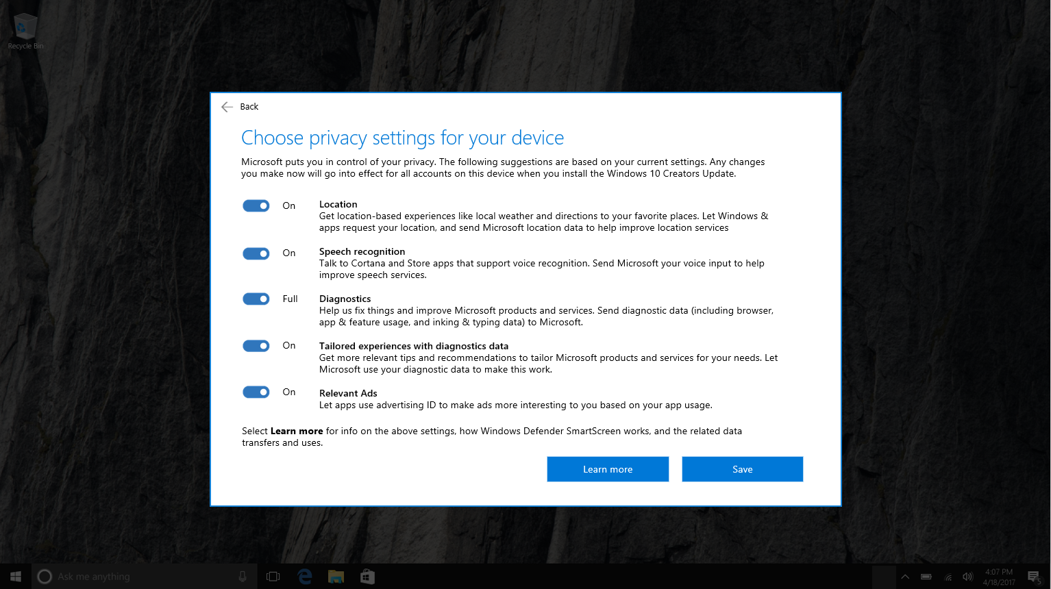 Creators Update Privacy Settings Page