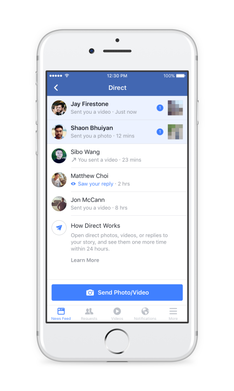 Diredt share Facebook Stories