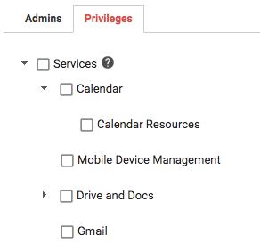 New G Suite Calendar Admin privileges
