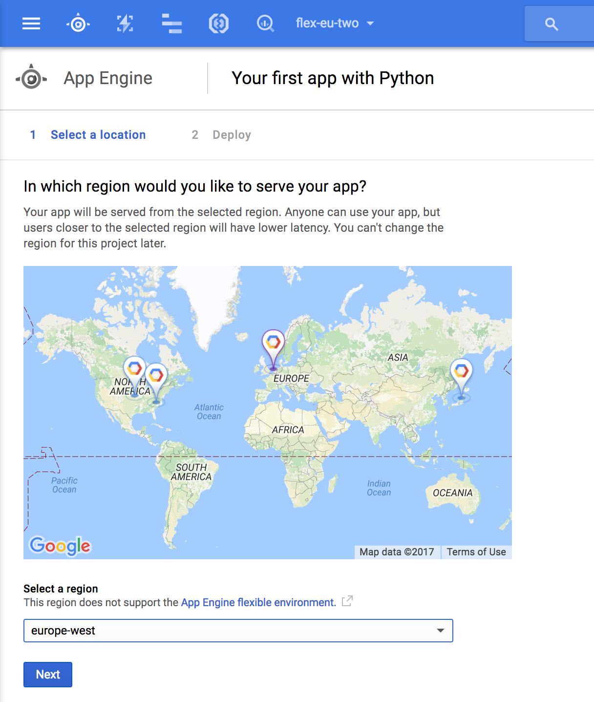 Google App Engine Flexible Enviroment Availability Map