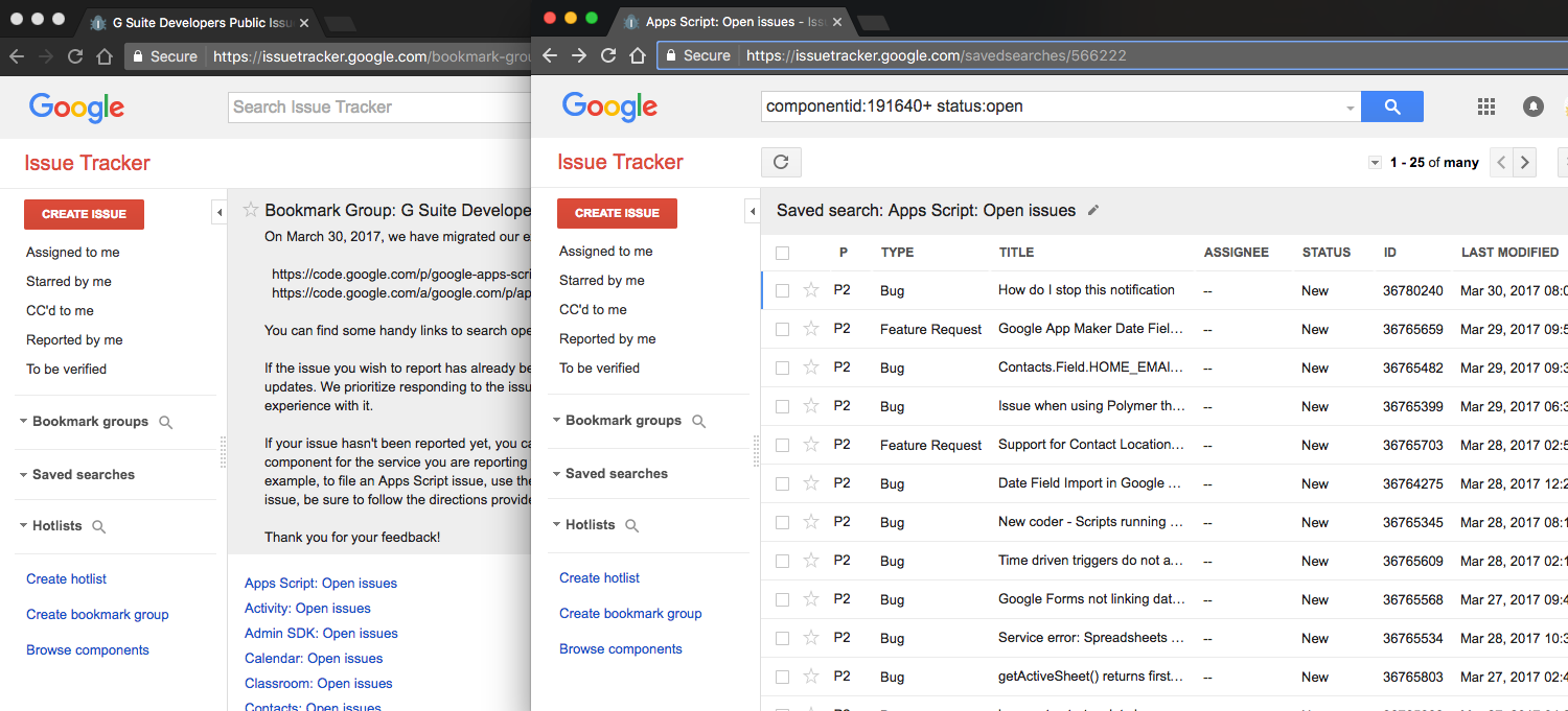 New G Suite Developers Issue Tracker