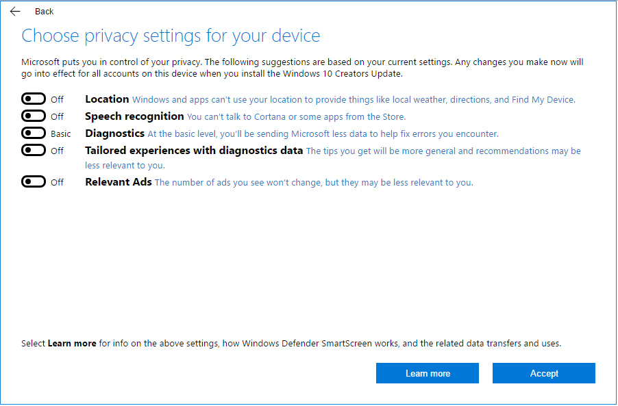 windows 10 creators update new privacy settings - toggle off