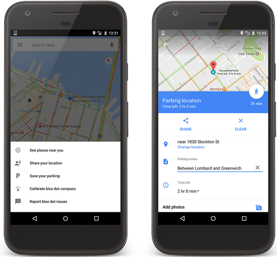 Save parkig in Google Maps on Android