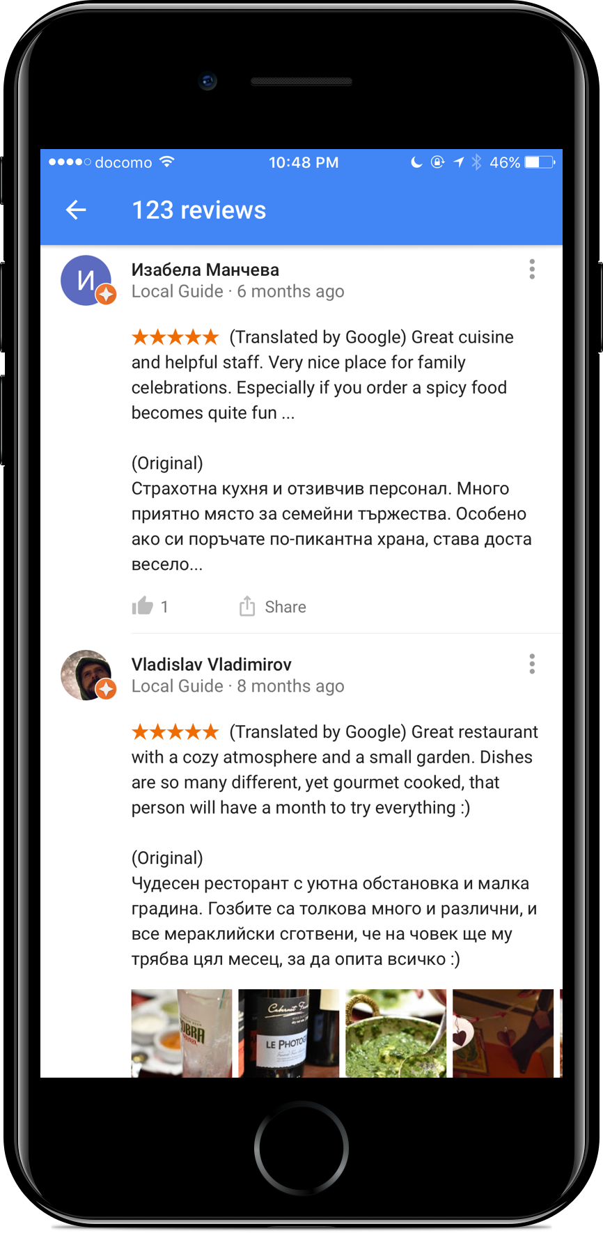 Local reviews in Google Maps and Search