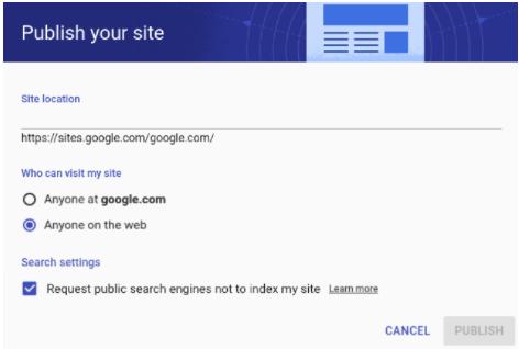 New Google Sites Publish you site option