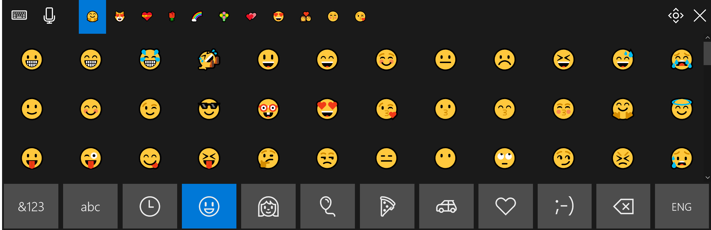 Improved touch keyboard with emojis