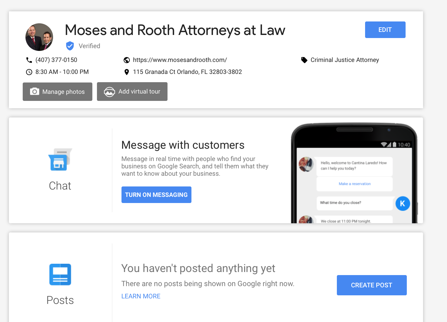 Google My Business Message with Cutomers feature