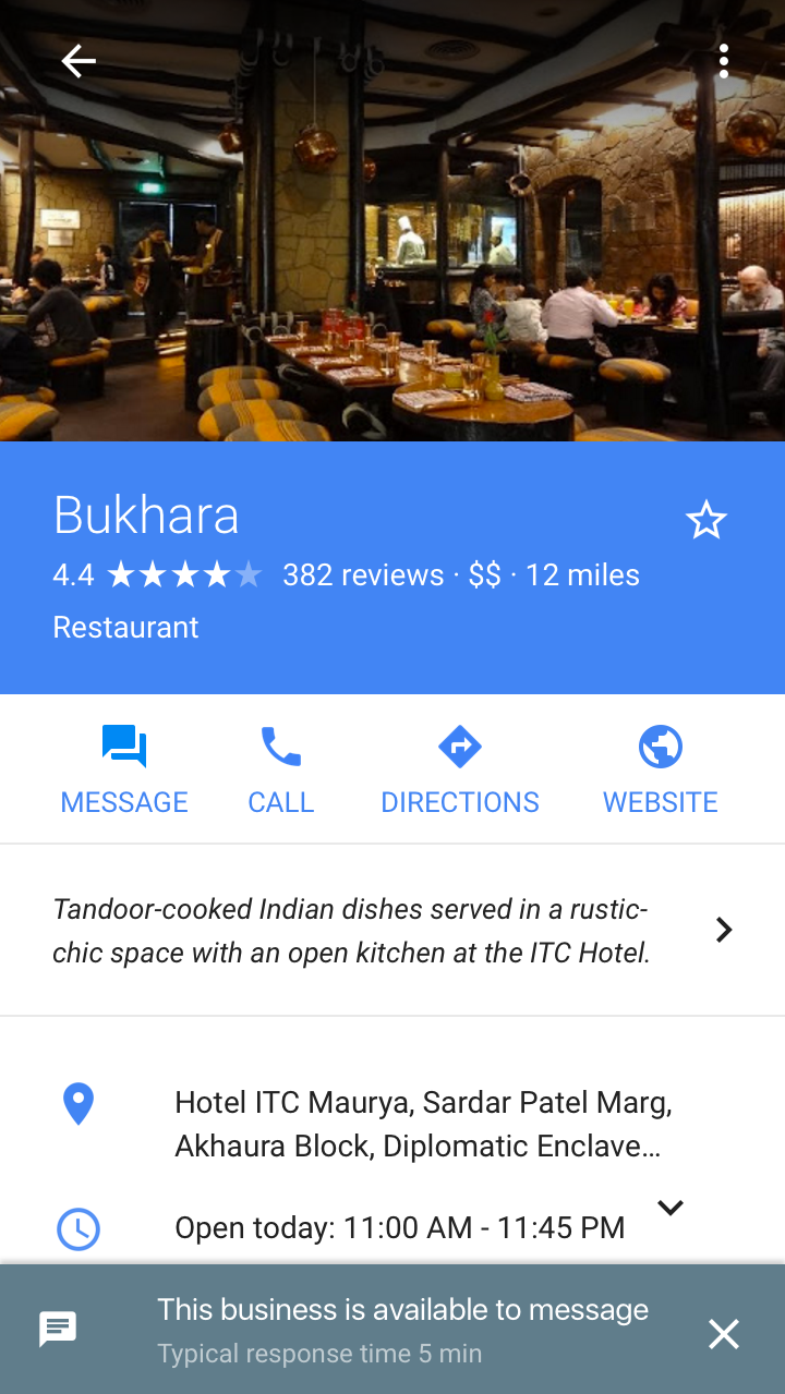 Google My Business Message with Customers appearing in local panel mobile search