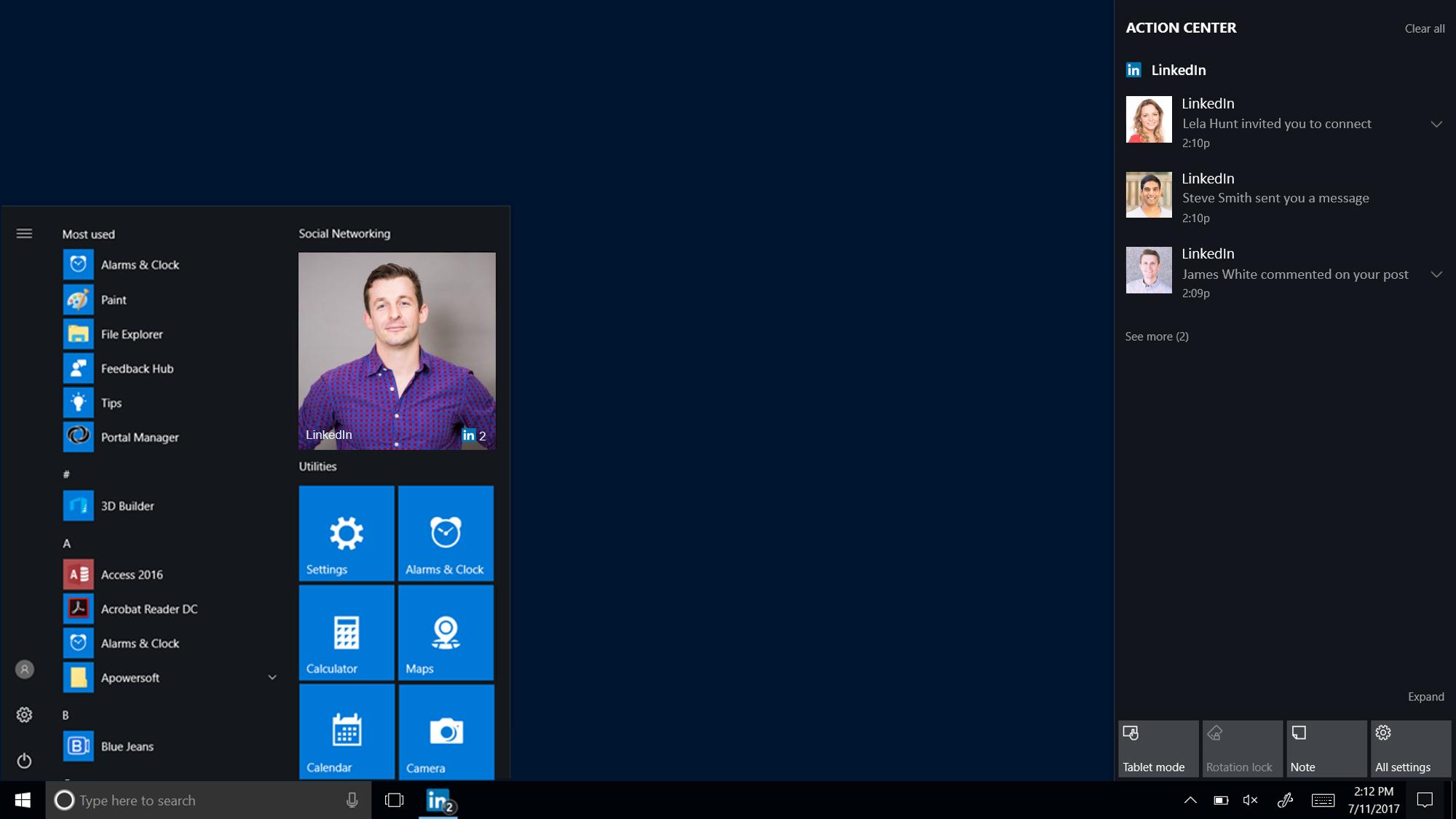 LinkedIn Windows 10 app