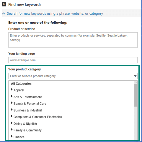 vertical insights in bing ads keyword planner