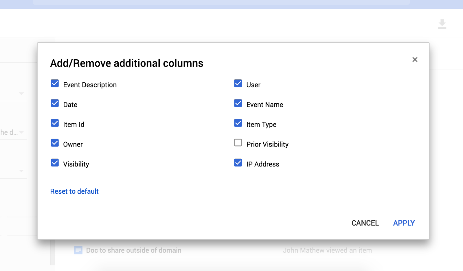 New Google Drive audit log filters in G Suite admin console