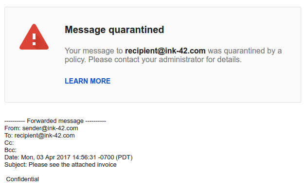 Gmail quarantined notification