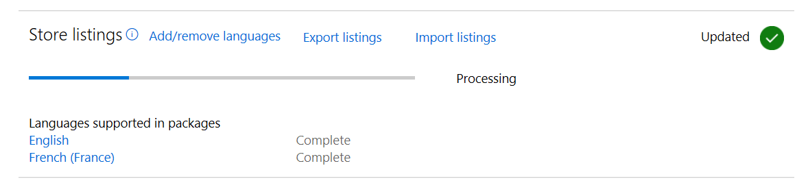 Export and import of store listings – Submission overview page