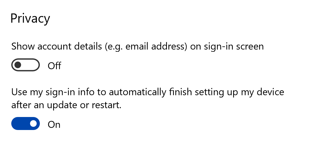 Use sign-in info to a restart or update