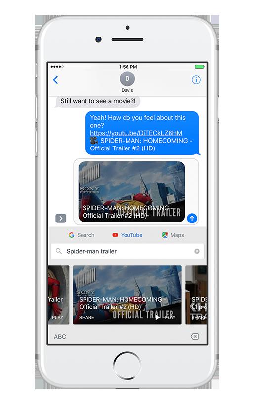 YouTube tab on Gboard for iOS