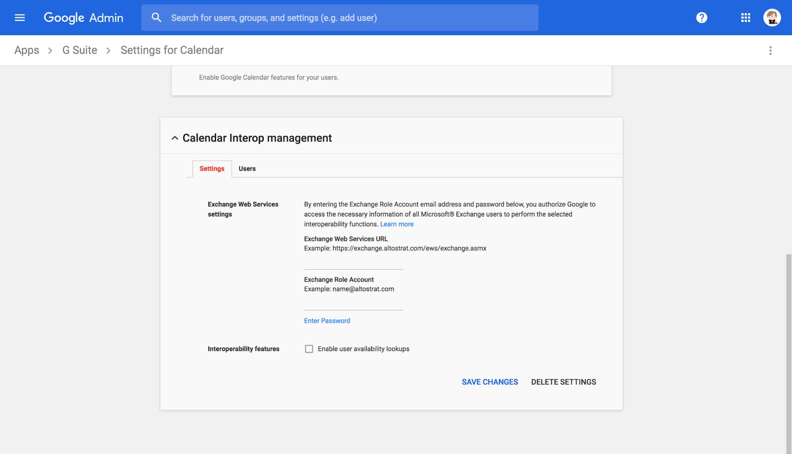 Google Calendar and Microsoft Exchange Interop Settings