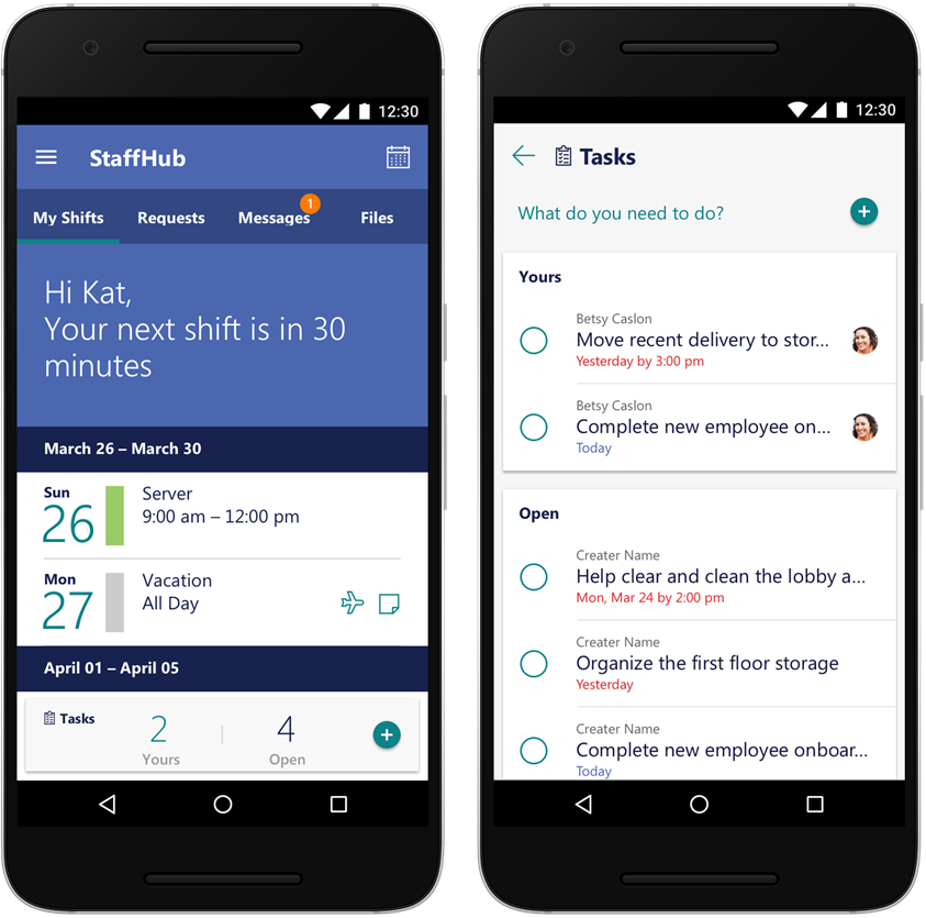 improved Microsoft StaffHub on Android and iOS