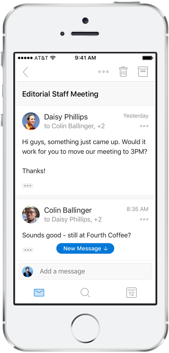 Redesigned conversation view in Outlook for iOS