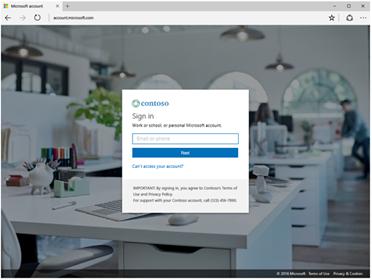 Azure AD desktop sign-in UI with company branding