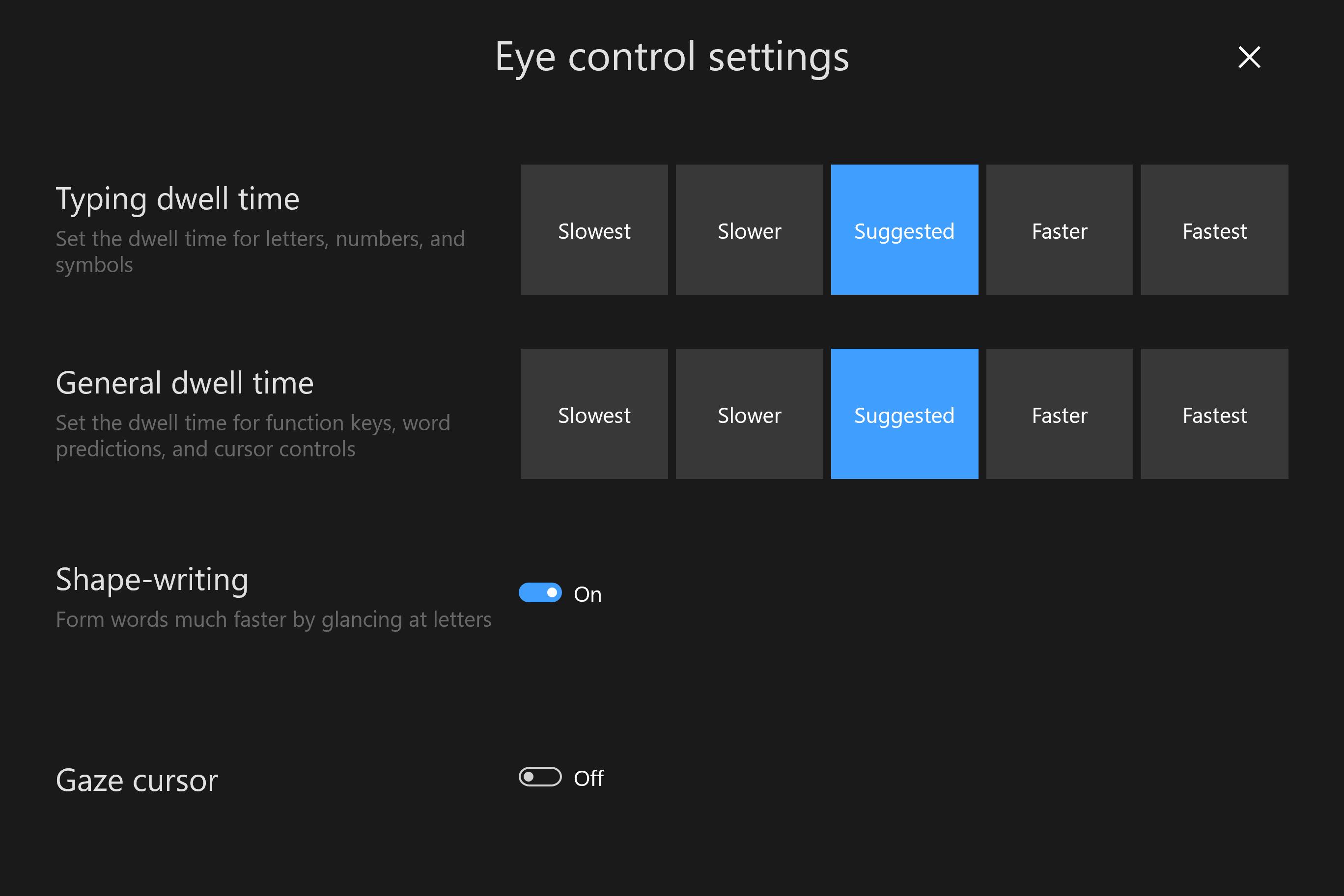 Eye Control settings fn page