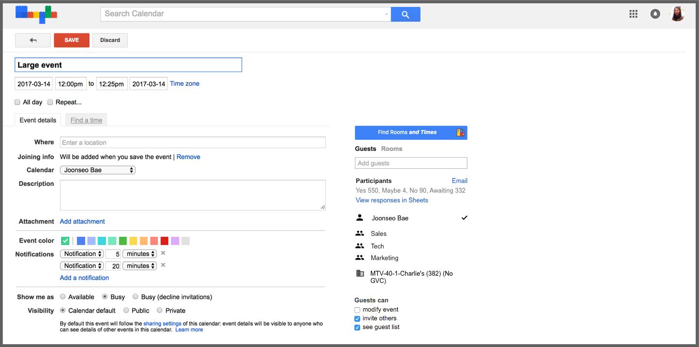 Export Google Calendar events to Sheets