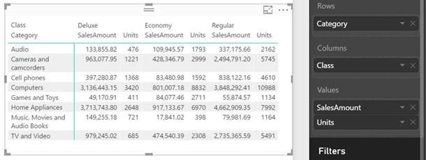 Power BI Desktop Matrix Report