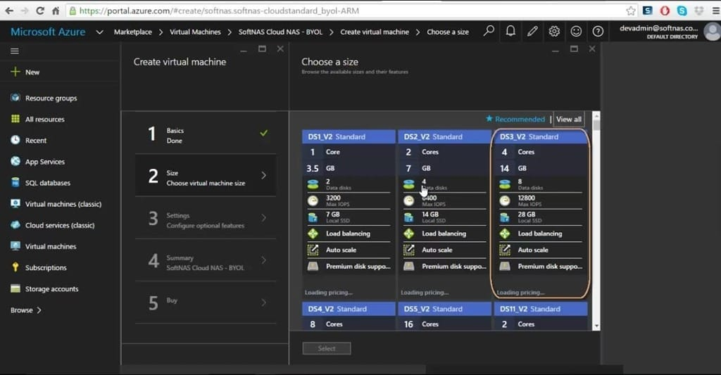 SoftNAS Cloud in Azure Portal