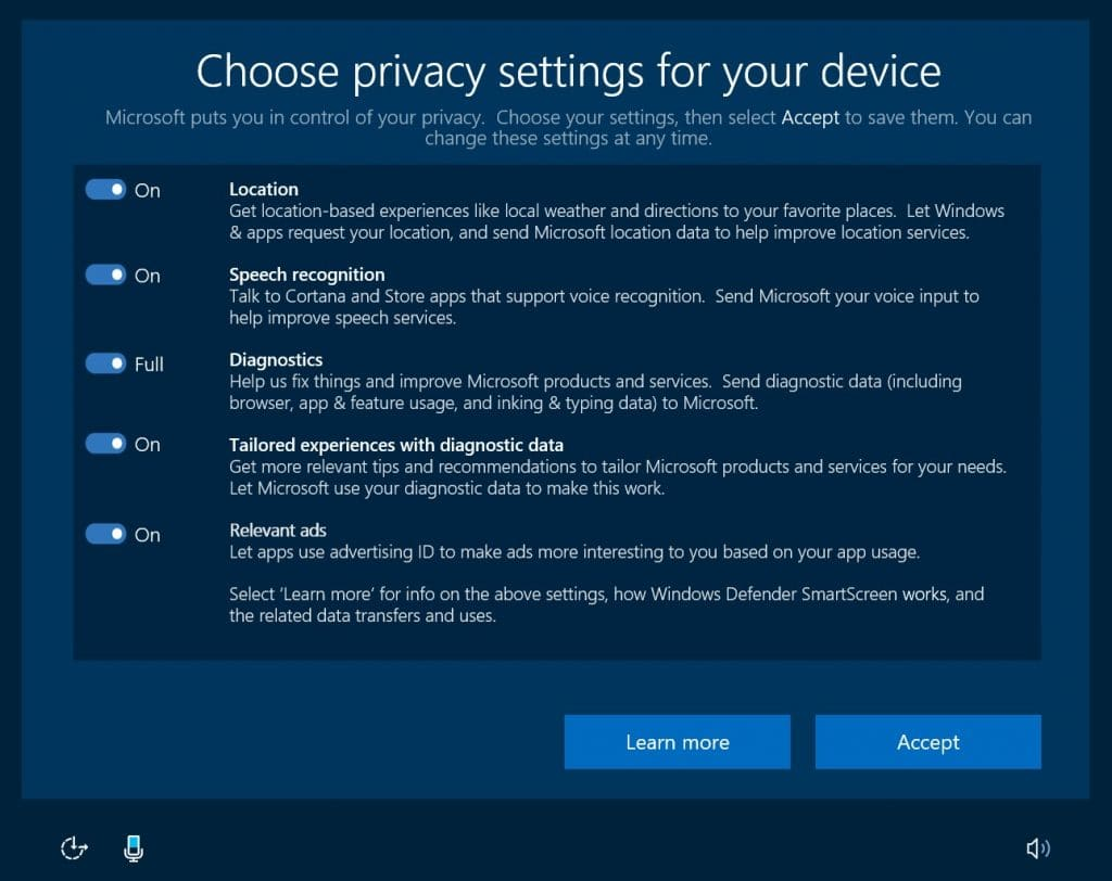 windows 10 insiders voice-capable privacy settings experience