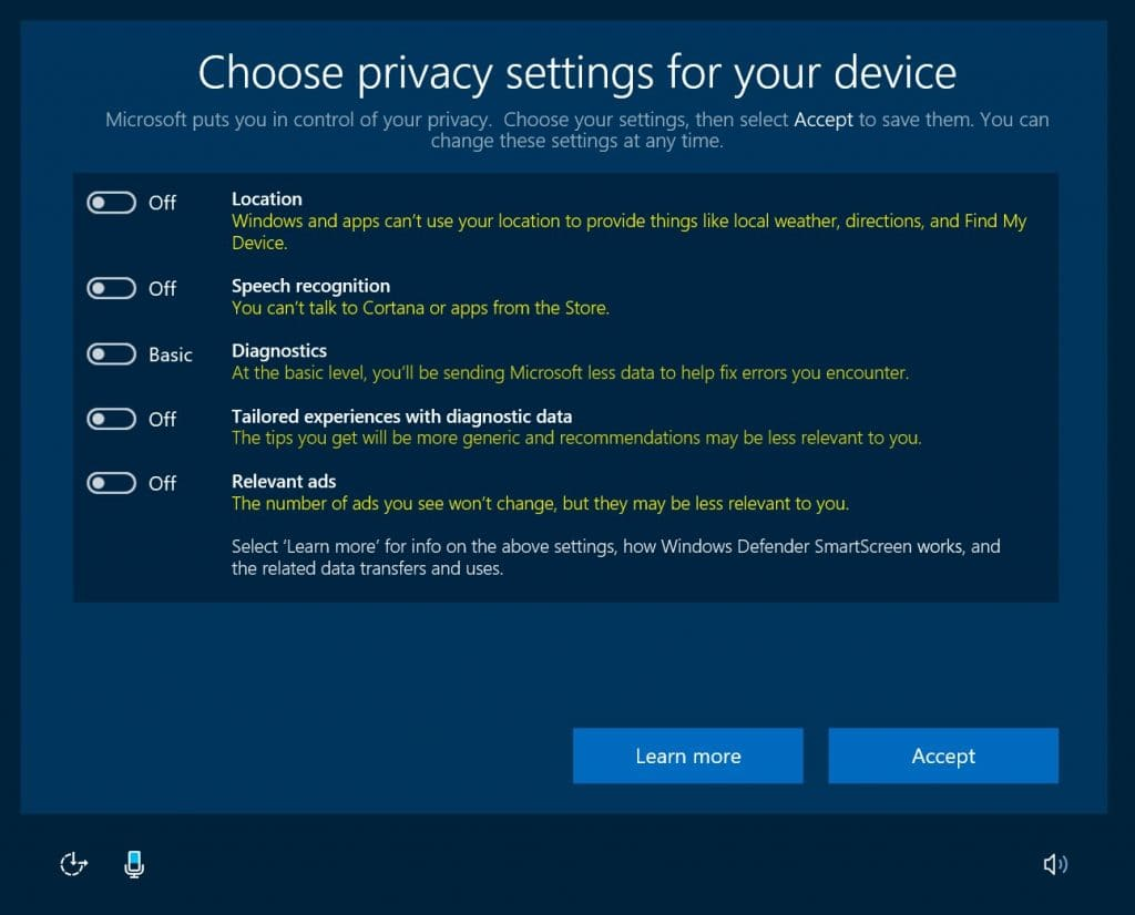 privacy changes in creators update
