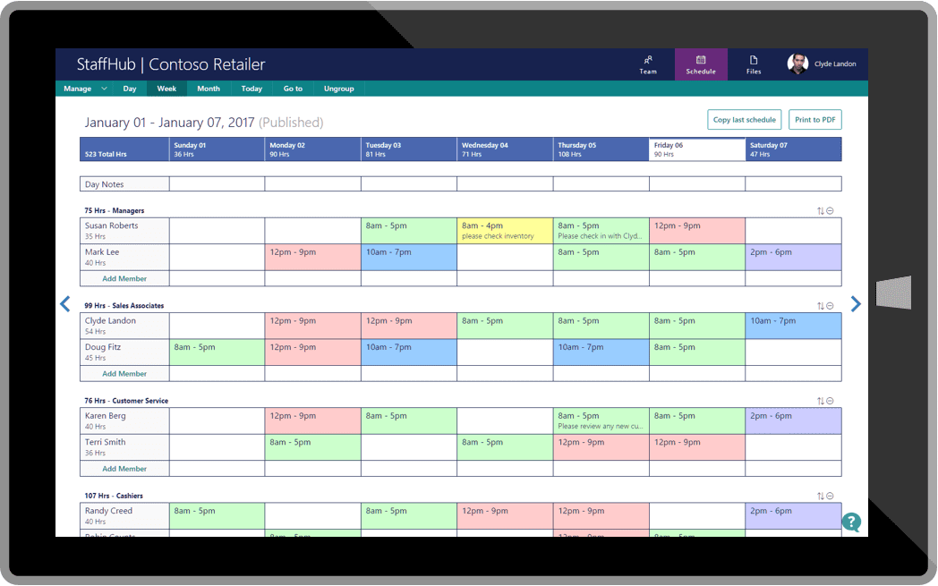 Microsoft StaffHub Admins screen
