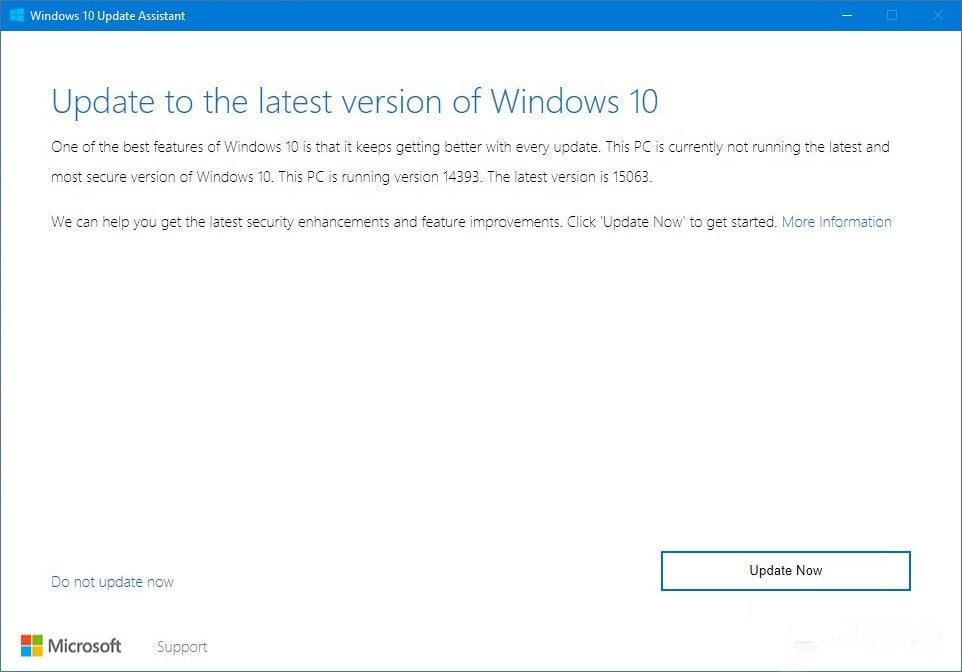 Creators Update Build 15063 Update Tool