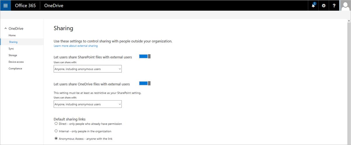 New OneDrive Admin Dashboard