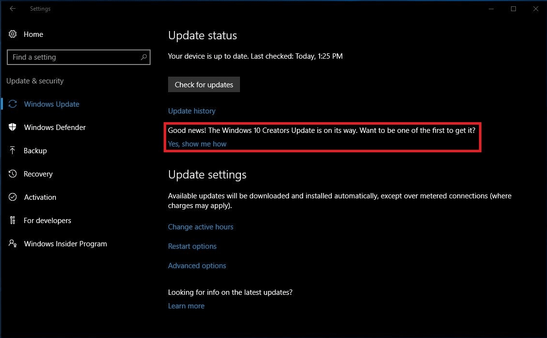 Windows 10 Build 14393.953: Creators Update Notification