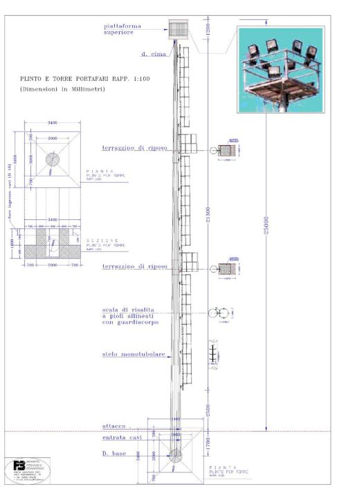 Torre portafari 25 metri model  1