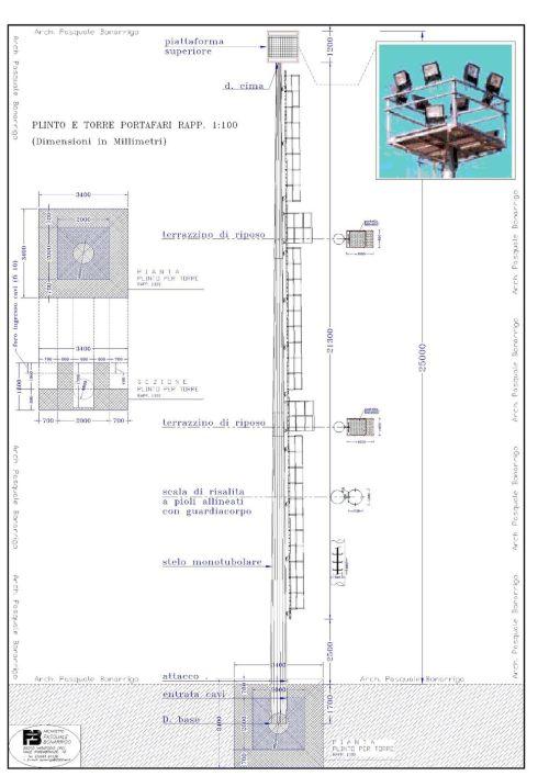 Torre portafari 25 metri bis model  1