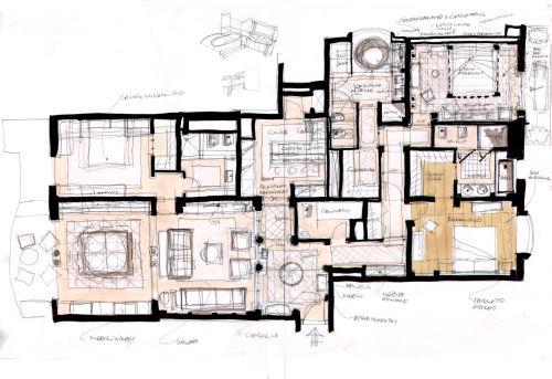 Progetto per architettura degli interni appartamento in for Architetto per interni