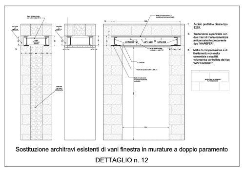 Progetto di consolidamento mediante interventi locali e di riparazione edificio residenziale - Apertura porta su muro portante ...