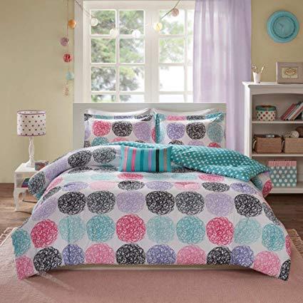 Pink and purple comforter set