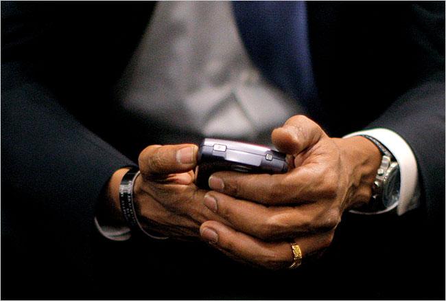 Barack obama and his blackberry