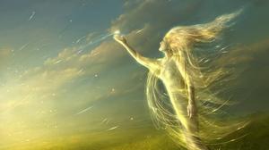 Превью обои ангел, свет, поле