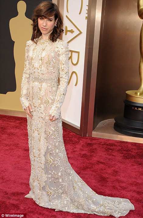Beaded beauty: Sally Hawkins arrived in a long sleeved ornate Valentino gown