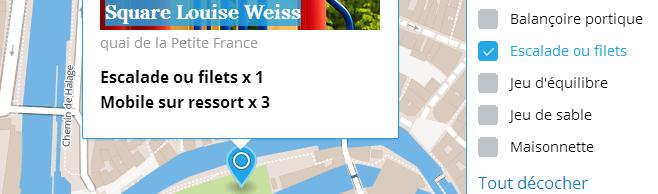 Carte des aires de jeux de Strasbourg