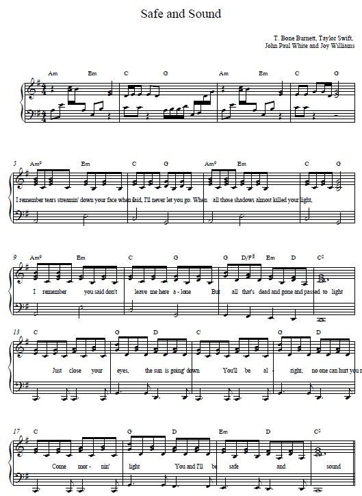 Chords for safe and sound taylor swift piano