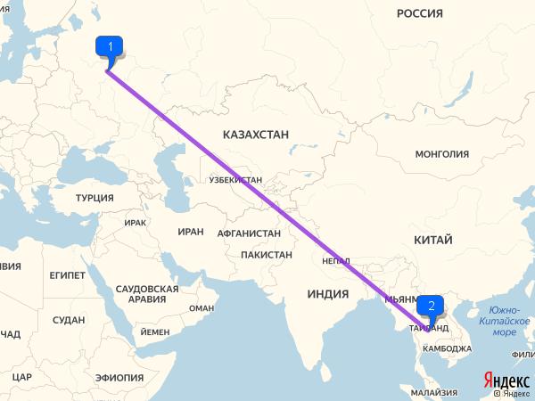 Расстояние до тайланда из москвы
